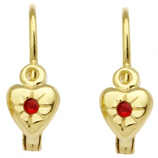 Basic Gold KI27 Mädchen Ohrringe Herz 14 Karat (585) Gelbgold Rot