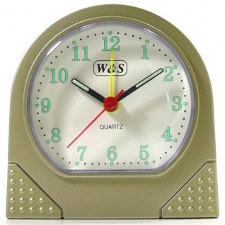 W&S 600101 Wecker Uhr champagner-weiß Analog Licht Alarm - Vorschau 1