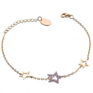 GOOIX 914-06375 Damen Armband Sterne Gold Weiß 20 cm