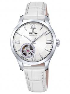 Festina F20490/1 Automatik Automatic Uhr Damenuhr Leder weiß