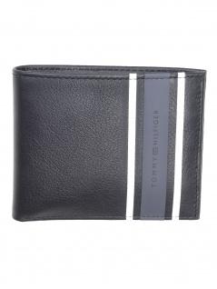 Tommy Hilfiger Herren Geldbörse Urban Stripe Mini CC Leder Schwarz