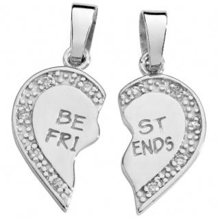 Basic Silber SL15 Anhänger Freundschaftsanhänger Herz Silber Zirkonia