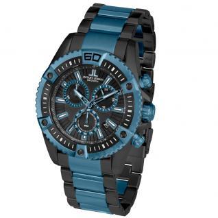 Jacques Lemans 1-1805I Chronograph Uhr Herrenuhr Edelstahl Datum Blau