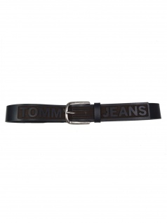 Tommy Hilfiger Herren Gürtel Tjm Logo Belt Leder 90cm Schwarz