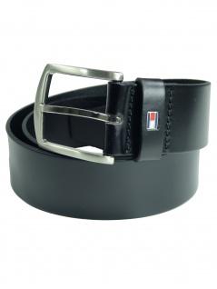Tommy Hilfiger Herren Gürtel New Denton Belt Leder 120cm Schwarz