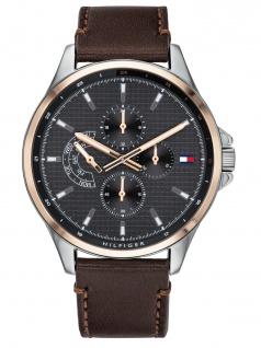 Tommy Hilfiger 1791615 SHAWN Uhr Herrenuhr Lederarmband Datum Braun - Vorschau