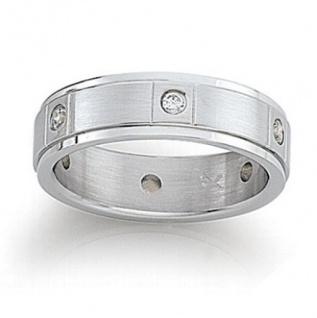 GooiX Damen Ring Edelstahl 444-2071 mit Zirkonia Größe 52 W 16, 6