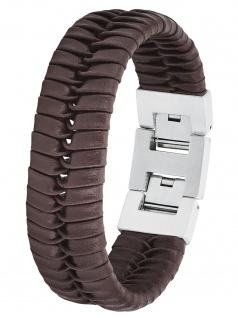 s.Oliver 2027440 Herren Armband Edelstahl Silber braun 22 cm