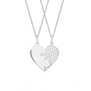 XENOX XS3527 Damen Anhänger Herz Sterling-Silber 925 Silber Weiß