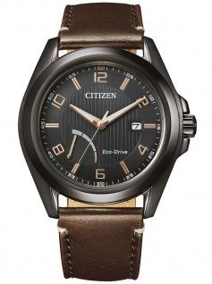 Citizen AW7057-18H Eco Drive Uhr Herrenuhr Lederarmband Datum braun