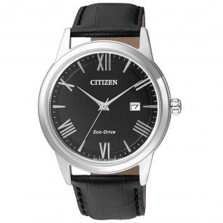 Citizen Sports Uhr Herrenuhr Lederarmband Datum schwarz
