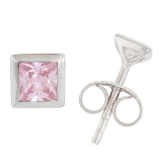 Basic Silber 01.1100P Damen Ohrstecker Silber Rosa