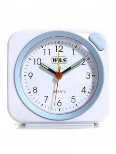 W&S 030409 Wecker Uhr weiß-blau Analog Licht Alarm