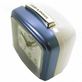 W&S 200703 Wecker Uhr blau-weiß leise Sekunde Analog Licht Alarm - Vorschau 3