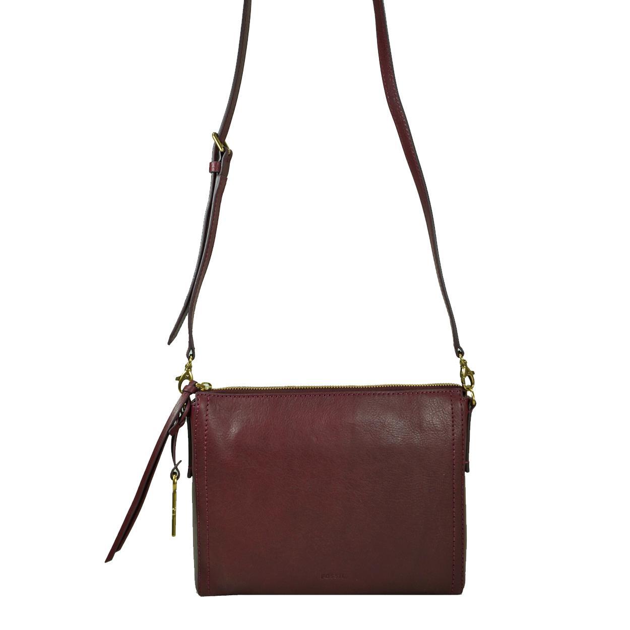 Emma Crossbody Rot Damen Handtasche Tasche Schultertasche Leder Umhängetasche Schulter Umhänge Taschen Fossil 4ckpwf1m