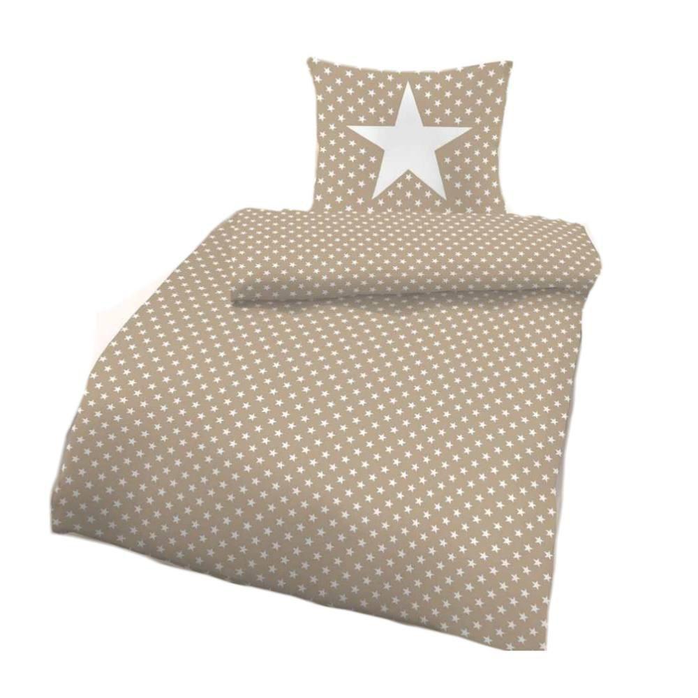 Ido 5922 182 Mako Satin Bettwäsche 2tlg Sterne Sand Weiß 135x200 Cm