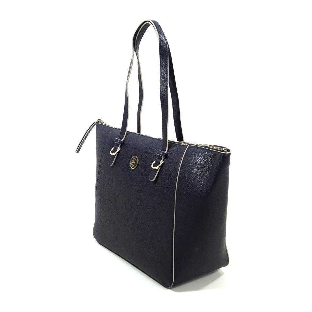 adde3df4ba112 Tommy Hilfiger TH Core Tote Logo Blau AW0AW04145-901 Damen Handtasche Tasche  Henkeltasche Shopper Schultertasche