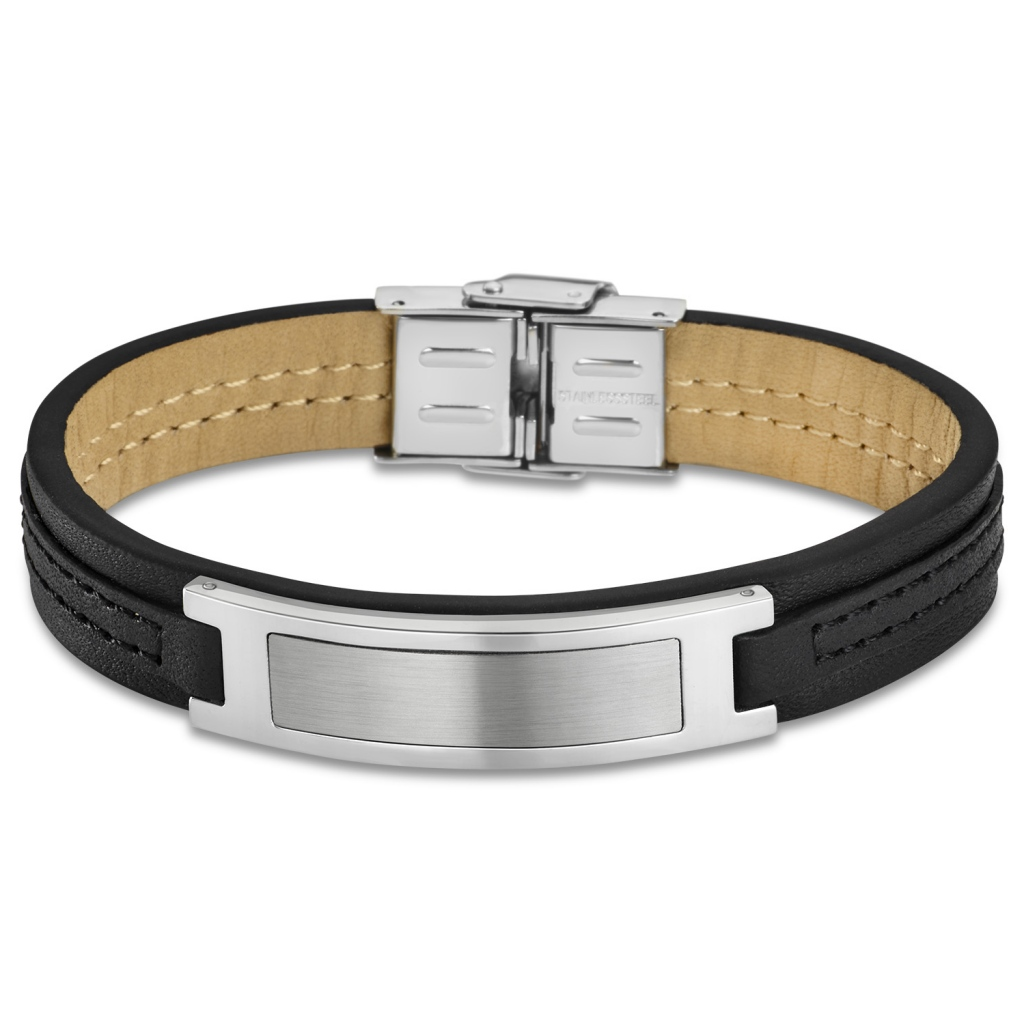 1 Armschmuck Armband Lederarmband Armkette Edelstahl Schwarz Silber 20cm LP