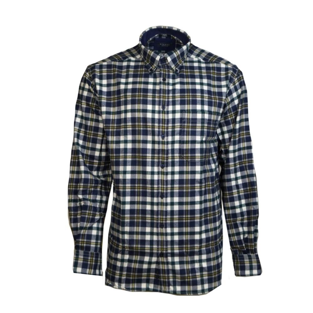 sale retailer e5e14 16c02 Eterna Herrenhemd Langarm Comfort Fit Blau Grün Gelb kariert XXL/46