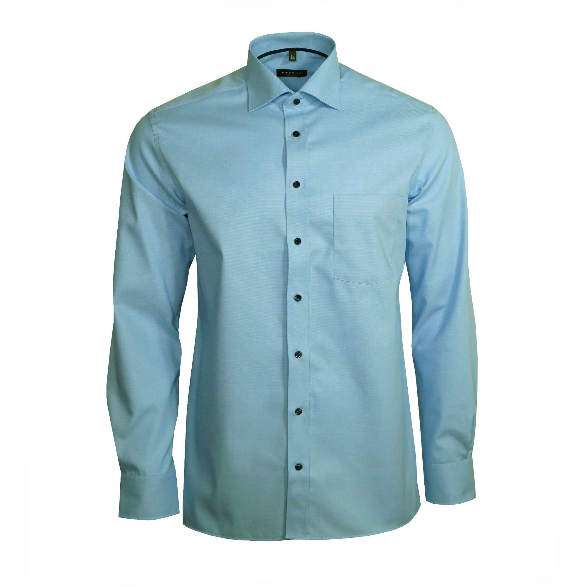 5bd34531e336 Eterna Herren Hemd Langarm Modern Fit Blau XL 43 Hemden 8048 11 X187