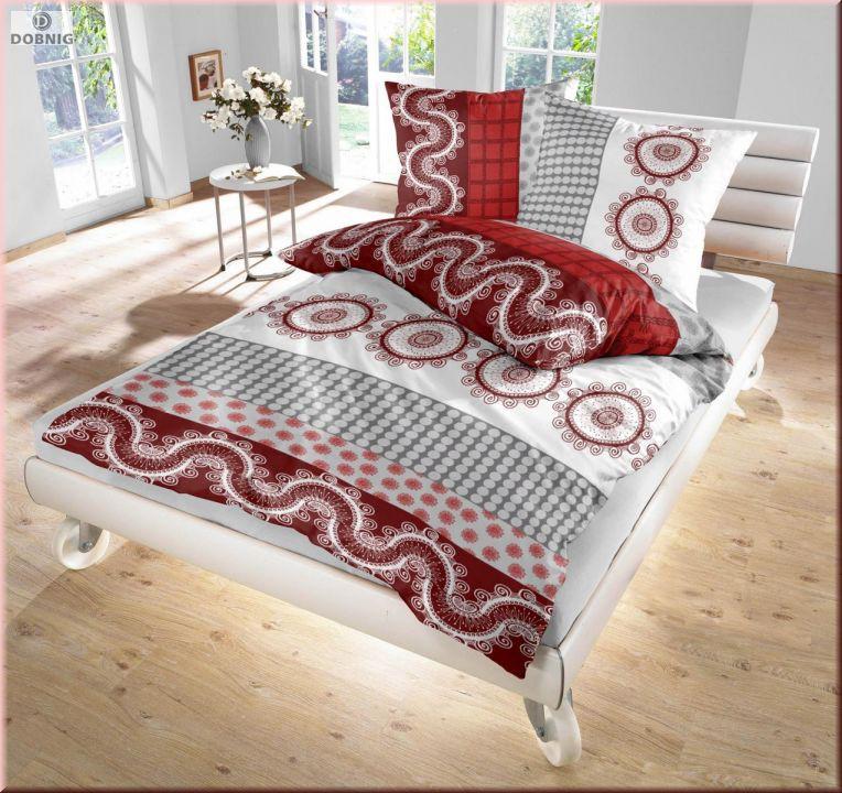 Dobnig Renforcé Bettwäsche 2tlg Rot Weiß Grau Ornamente 135x200 Cm