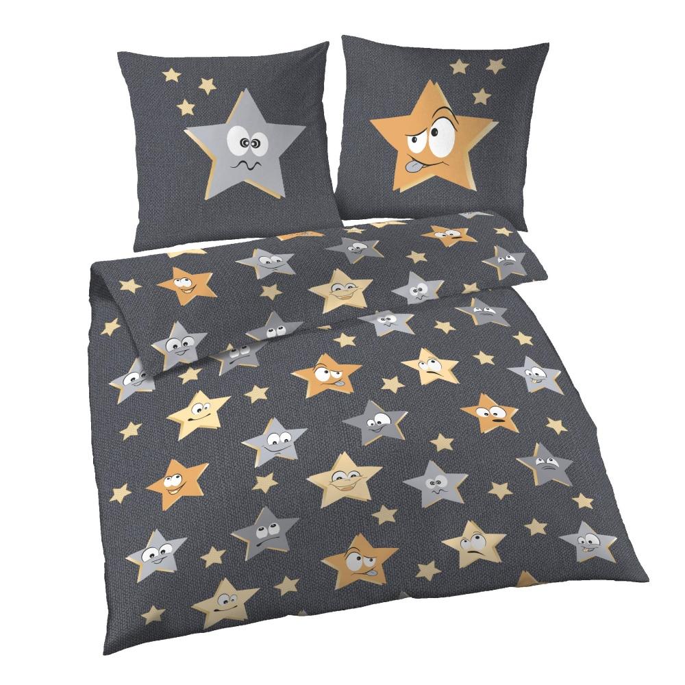 Ido Renforcé Bettwäsche 2tlg Sterne Funky Grau Bettbezug 135x200 Cm