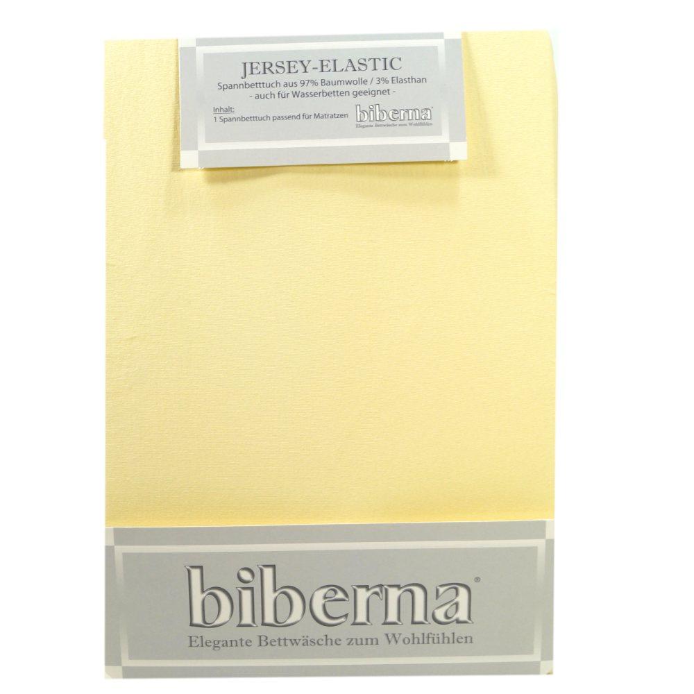 Biberna Jersey Elastic Spannbetttuch Hellgelb 120 X 200 130 X 220