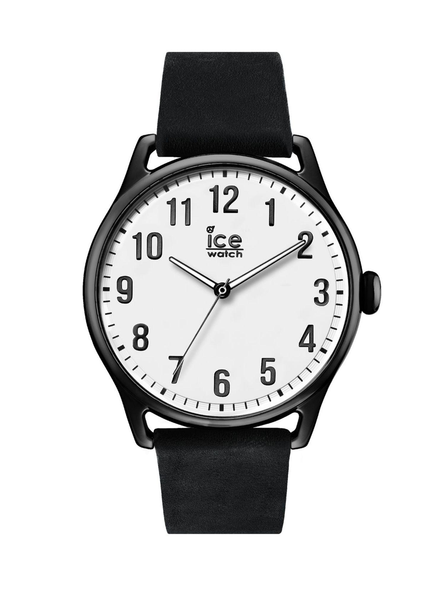 White Large Watch Uhr Ice 013041 Time Black Lederarmband Schwarz W2EH9DI