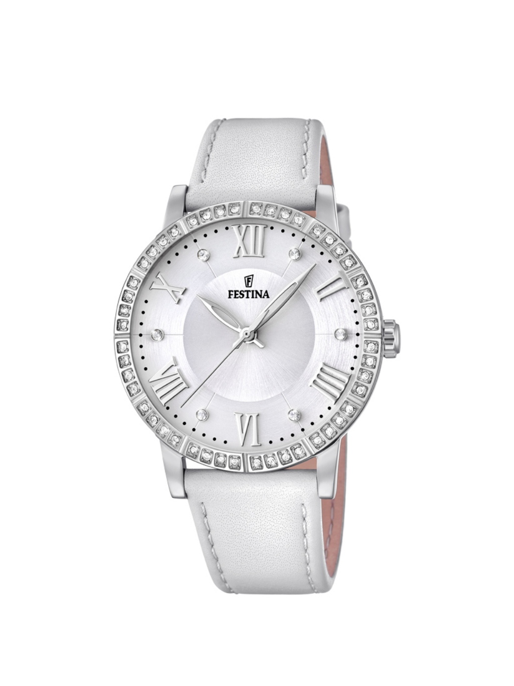 Uhr Lederarmband F204121 Festina Damenuhr Weiß SMVpUz