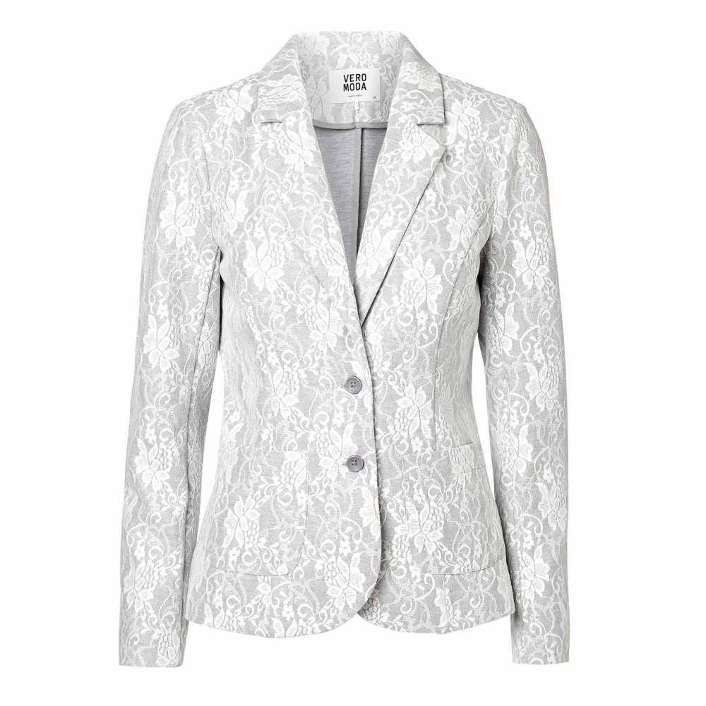Vero Moda Damen Blazer Jacke BENNO Lace LS Blazer Grau Gr. 34 1 ... b29cc1c8d5