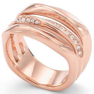 Fossil JF01321 Damen Ring Edelstahl rosé Glasstein Weiß 53 (16.9)