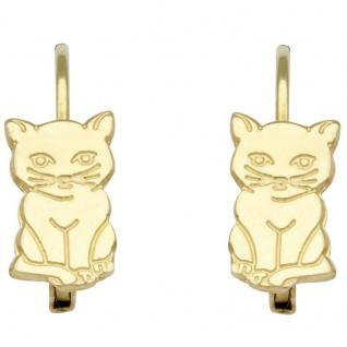 Basic Gold KI44 Mädchen Ohrringe Katze 14 Karat (585) Gelbgold