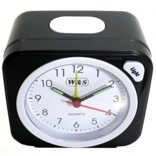 W&S 030409 Wecker Uhr schwarz-weiß Analog Licht Alarm - Vorschau 2