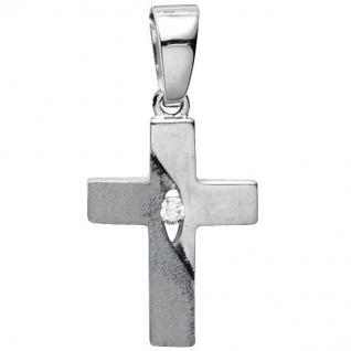 Basic Silber 27.9190S Damen Anhänger Kreuz Silber Zirkonia weiß