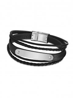 LOTUS LS2046-2-3 Herren Armband Edelstahl Silber Schwarz 21, 5 cm