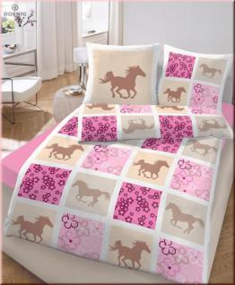 IDO Fein Biber Bettwäsche 2tlg. Beige-Rosa-Pferde 135x200 cm
