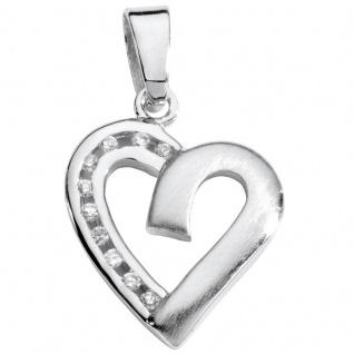 Basic Silber SL27 Damen Anhänger Herz Silber Weiß Zirkonia