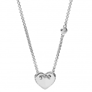 Fossil JFS00425040 Damen Collier Herz Sterling-Silber 925 Weiß 47 cm