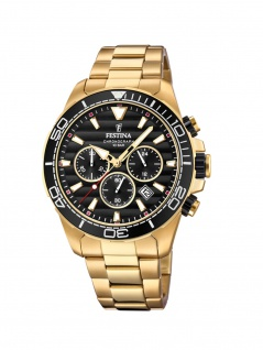 FESTINA F20364/3 Chronograph Uhr Herrenuhr Edelstahl Chrono Datum Gold