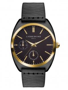 LIEBESKIND LT-0044-LM Uhr Damenuhr Lederarmband Datum Schwarz