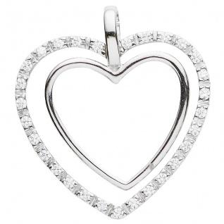 Basic Silber 21.0009S Damen Anhänger Herz Silber Zirkonia weiß - Vorschau 1
