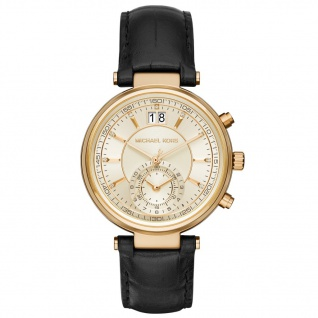 Michael Kors SAWYER Chronograph Uhr Damenuhr Leder schwarz gold