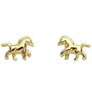 Basic Gold KI36 Kinder Ohrstecker Pferd 14 Karat (585) Gelbgold