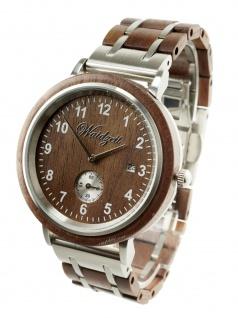 Waidzeit WW01 Valentin Walnuss Uhr Herrenuhr Holz Datum Braun