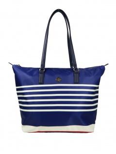 Tommy Hilfiger Damen Handtasche Tasche Shopper Poppy Tote Stripes Blau