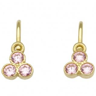 Basic Gold KI52 Mädchen Ohrringe 14 Karat (585) Gelbgold Rosa