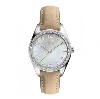 s.Oliver SO-3267-LQ Uhr Damenuhr Lederarmband Beige