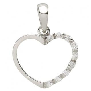 Basic Silber 21.0020S Damen Anhänger Herz Silber Zirkonia weiß