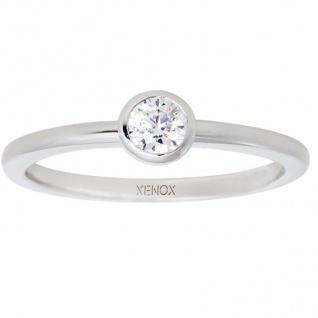 XENOX XS7279 Damen Ring Silver Circle Silber weiß 58 (18.5)