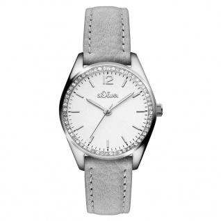 s.Oliver SO-3322-LQ Uhr Damenuhr Lederarmband Grau